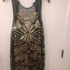 Bebe Black and Gold Sequence Dress